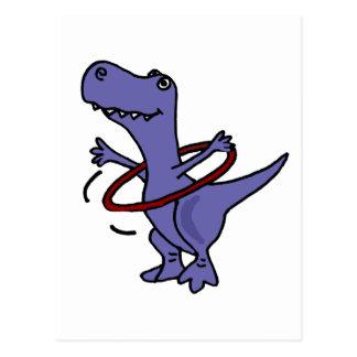 XX- Funny T-rex Dinosaur Using Hula Hoop Postcard