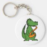 XX- Gator Playing Saxophone Basic Round Button Key Ring