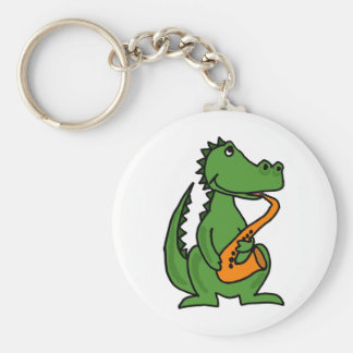 XX- Gator Playing Saxophone Basic Round Button Key Ring