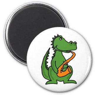 XX- Gator Playing Saxophone Magnet