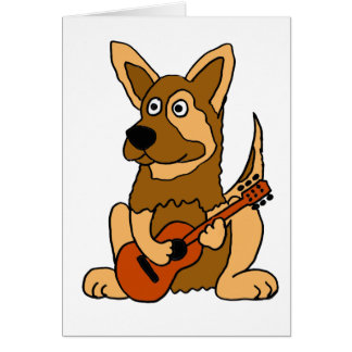 XX- German Shepherd Puppy Playing Guitar Cartoon Card