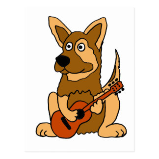 XX- German Shepherd Puppy Playing Guitar Cartoon Postcard