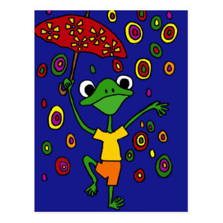 XX- Glorious Frog Dancing in the Rain Postcard