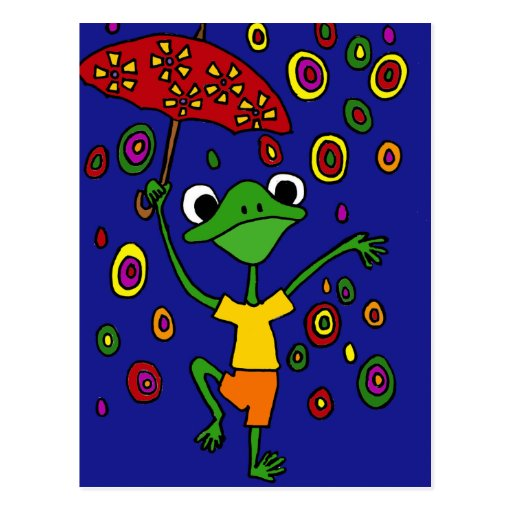 XX- Glorious Frog Dancing in the Rain Post Cards