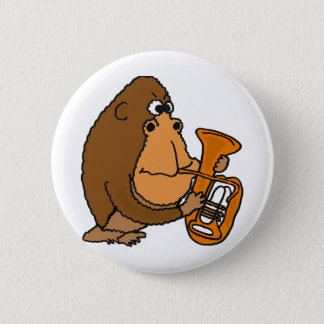 XX- Gorilla Playing Tuba 6 Cm Round Badge