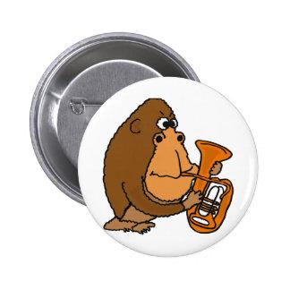 XX- Gorilla Playing Tuba 6 Cm Round Badge