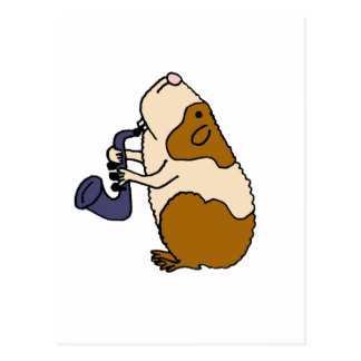 XX- Guinea Pig Playing the Saxophone Postcard