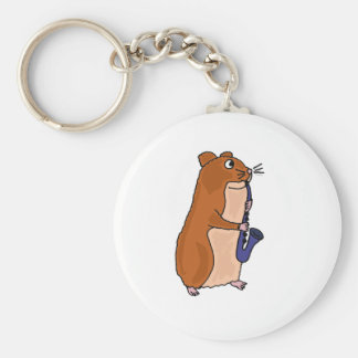 XX- Hamster Playing the Saxophone Basic Round Button Key Ring