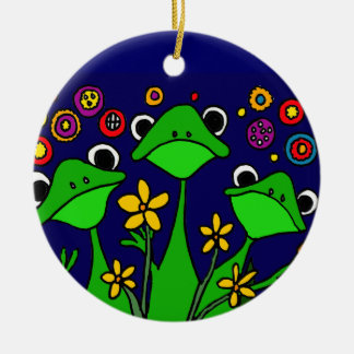 XX- happy Frogs Folk Art Design Christmas Ornament