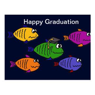 XX- Happy Graduation School of Fish Postcard