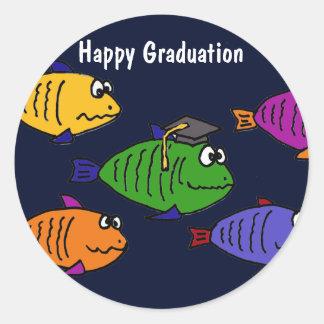 XX- Happy Graduation School of Fish Round Sticker
