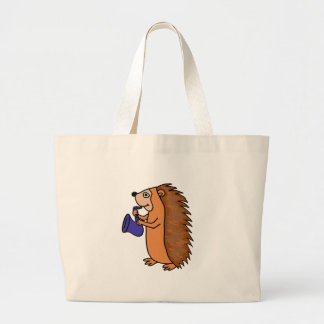 XX- Hedgehog Playing Saxophone Cartoon Large Tote Bag