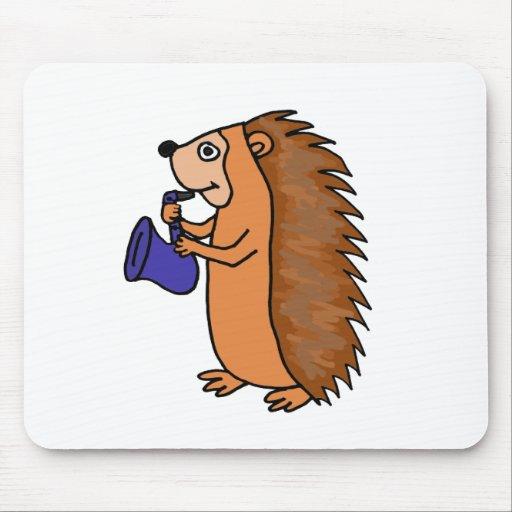 XX- Hedgehog Playing Saxophone Cartoon Mousepads