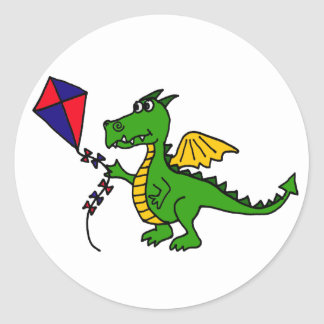 XX- Hilarious Dragon Flying Kite Classic Round Sticker