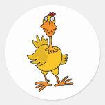XX- Hilarious Goofy Chicken Round Sticker