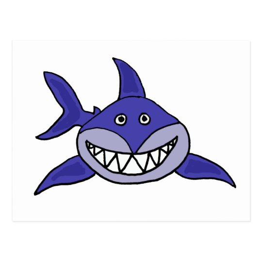 XX- Hilarious Grinning Shark Cartoon Postcard