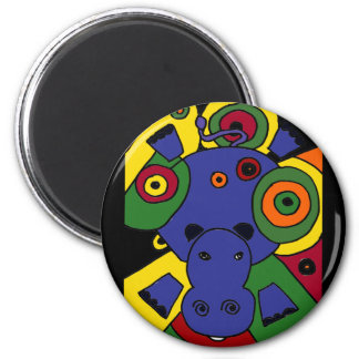 XX- Hippo Abstract Art Magnet