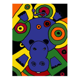 XX- Hippo Abstract Art Postcard