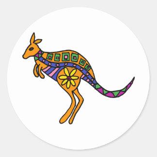 XX- Kangaroo Art Round Sticker