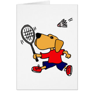 XX- Labrador Retriever Playing Badminton Card