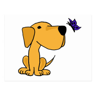 XX- Labrador Retriever Watching Butterfly Cartoon Postcard