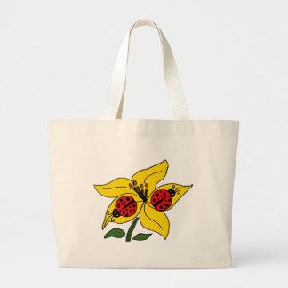 XX- Ladybugs on Lily Large Tote Bag