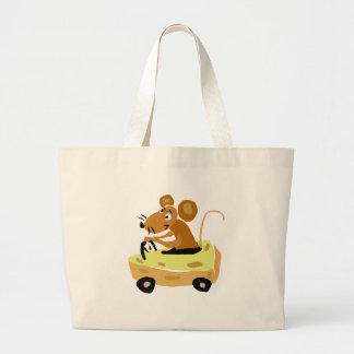 XX- Mouse Driving a Cheese Car Cartoon Tote Bag