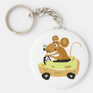 XX- Mouse Driving a Cheese Car Cartoon Key Ring