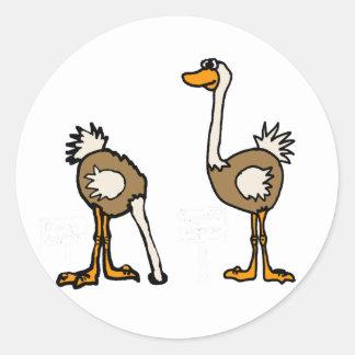 XX- Ostriches in Sand Round Sticker