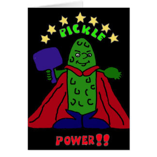 XX- Pickle Power Superhero Pickleball Cartoon Card