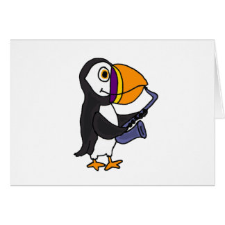 XX- Puffin Playing the Saxophone Greeting Card