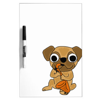 XX- Pug Playing Saxophone Cartoon Dry Erase Board