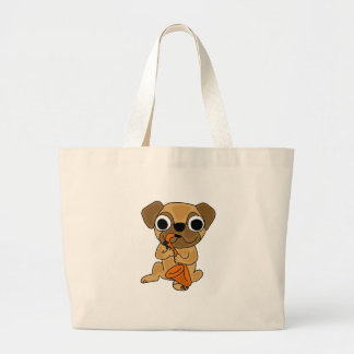 XX- Pug Playing Saxophone Cartoon Large Tote Bag