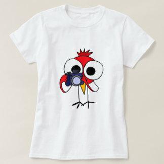 XX- Red Cardinal Bird with Camera Cartoon T-Shirt