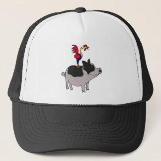 XX- Rooster on a Pot Bellied Pig Cartoon Trucker Hat