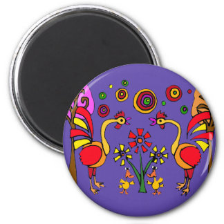 XX- Roosters and Flowers Folk Art 6 Cm Round Magnet