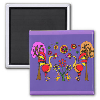 XX- Roosters and Flowers Folk Art Square Magnet