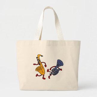 XX- Saxophone and Trumpet Dancing Cartoon Canvas Bags