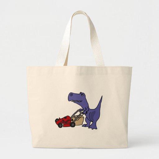 XX- T-rex Dinosaur Pushing Lawn Mower Tote Bags