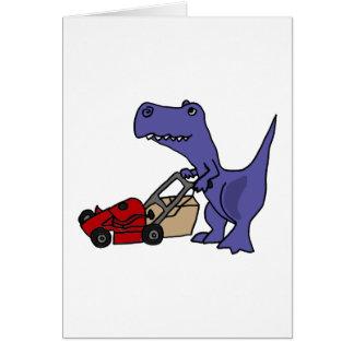 XX- T-rex Dinosaur Pushing Lawn Mower Greeting Cards