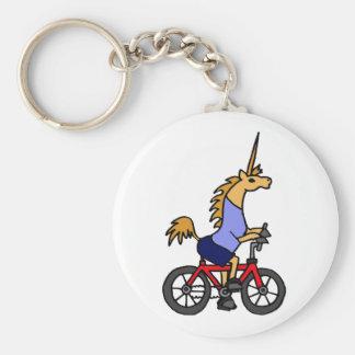 XX- Unicorn Riding Bicycle Cartoon Key Ring