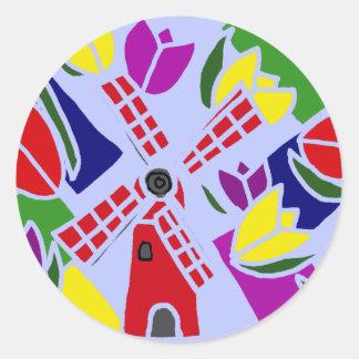 XX- Windmills and Tulips Art Classic Round Sticker