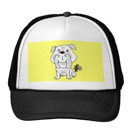 XX- Yellow Jacket Stinging Bulldog Cartoon Mesh Hat