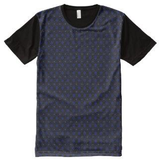 XXL Black Round Motif on Blue All-Over Print T-Shirt
