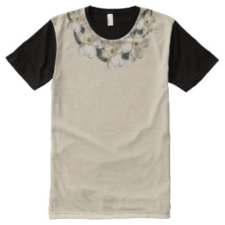 XXL Sepia Magnolia Accent Collar on Tan & Black All-Over Print T-Shirt