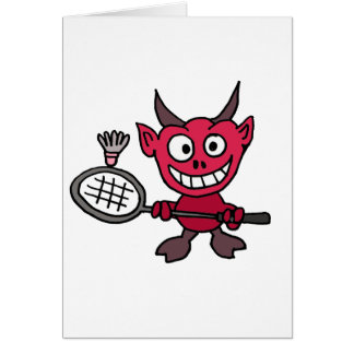 XY- Devil Playing BADminton Cartoon Card