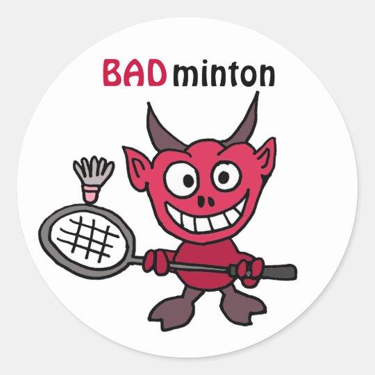 XY- Devil Playing BADminton Cartoon Classic Round Sticker