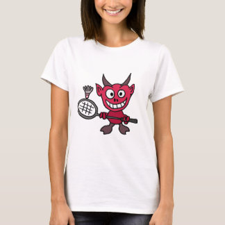 XY- Devil Playing BADminton Cartoon T-Shirt