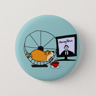 XY- Funny Hamster on an Exercise Wheel Satire 6 Cm Round Badge