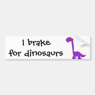 XY- Funny Purple Dinosaur Primitive Art Bumper Sticker